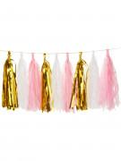 Guirlande tassel 18 pompons dorés, roses et blancs