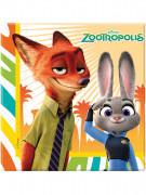 20 Serviettes en papier Zootopie™ 33 x 33 cm