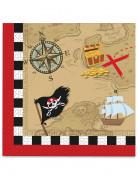 20 Serviettes en papier Carte au trésor Pirate 33 x 33 cm