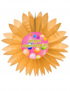 Eventail papier joyeux anniversaire Fiesta orange 50 cm