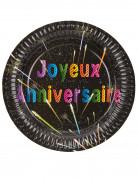 6 Assiettes en carton Anniversaire feux d'artifice 23 cm