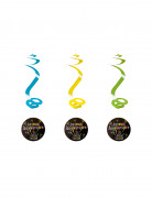 4 suspensions spirale Joyeux Anniversaire Feux d'artifice 60 cm