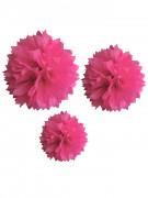 3 Pompons rose fuchsia en papier 20, 30 et 40 cm