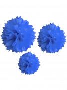 3 Pompons en papier bleu royal 20, 30 et 40 cm