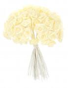 72 Mini roses satin ivoire