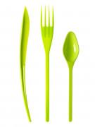 30 Couverts en plastique vert anis - Premium