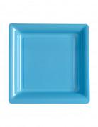 12 Petites assiettes carrées plastique bleu ciel 18 cm