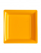 12 Petites assiettes carrées plastique orange 18 cm