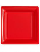 12 Assiettes carrées en plastique rouge 23,5 cm