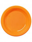 50 Petites assiettes en plastique mandarine 17 cm