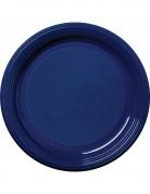 30 Assiettes en plastique bleu marine 22 cm