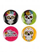 4 Badges 3 cm Dia de los muertos