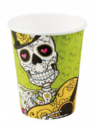 6 Gobelets en carton Dia de los muertos 250 ml