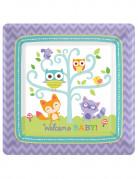 8 Petites assiettes en carton Forêt Baby Shower 18 cm