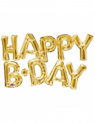 Ballon aluminium lettres Happy Birthday doré 76 cm