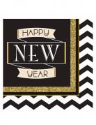 16 Serviettes en papier Happy New Year noir et or 33 x 33 cm