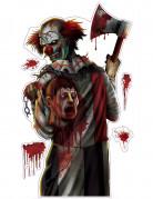 Autocollant clown ensanglanté Halloween