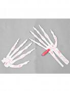 6 Mains squelette blanc avec craie halloween