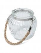 Pot en verre avec anse corde 12 cm