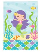 8 Sacs de fête Sirène en plastique - 23 x 16 cm