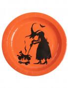 10 Assiettes en carton sorcière Halloween