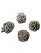 6 Pommes de pin à paillettes cuivre 3 cm