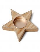 Bougeoir étoile en bois et paillettes cuivrées 11 cm