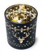 Photophore cerfs et étoiles noir et or
