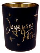 2 Photophores Joyeuses fêtes noir et or 6 cm