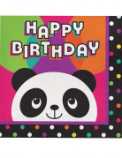 16 Serviettes en papier Happy Birthday Panda Party
