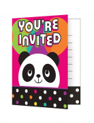 8 Cartes d'invitation anniversaire Panda Party