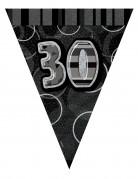 Guirlande fanions gris âge 30 ans 2.74m