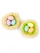 2 Petits nids avec oeufs colorés 7 cm