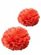 2 pompons papier de soie corail 40 et 50 cm