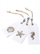 6 Etiquettes en lin motifs coquillages 9 cm