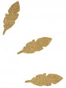 10 Plumes en papier à paillettes dorées 6.5 cm