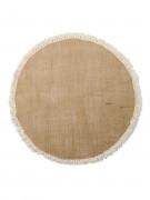 Centre de table rond toile de jute à franges 52 cm