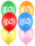 12 Ballons différentes couleurs chiffre âge 60