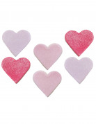 6 Coeurs en sucre roses pour gâteau 2.5 x 3 cm