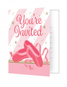 8 Cartes d'invitations ballerine