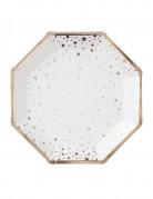8 Assiettes en carton blanches et or 23 cm