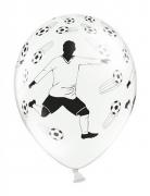 6 Ballons blancs avec Joueur de Foot et ballons 30 cm