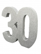 Décoration de table 30 ans argent pailleté 20 x 20 cm