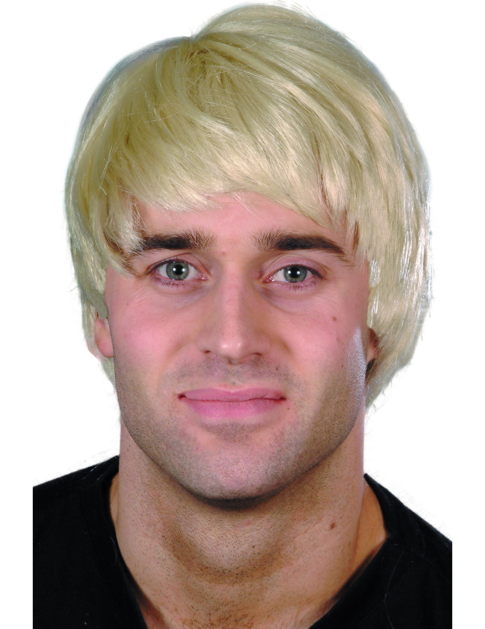 perruque courte moderne blonde homme, décoration anniversaire et