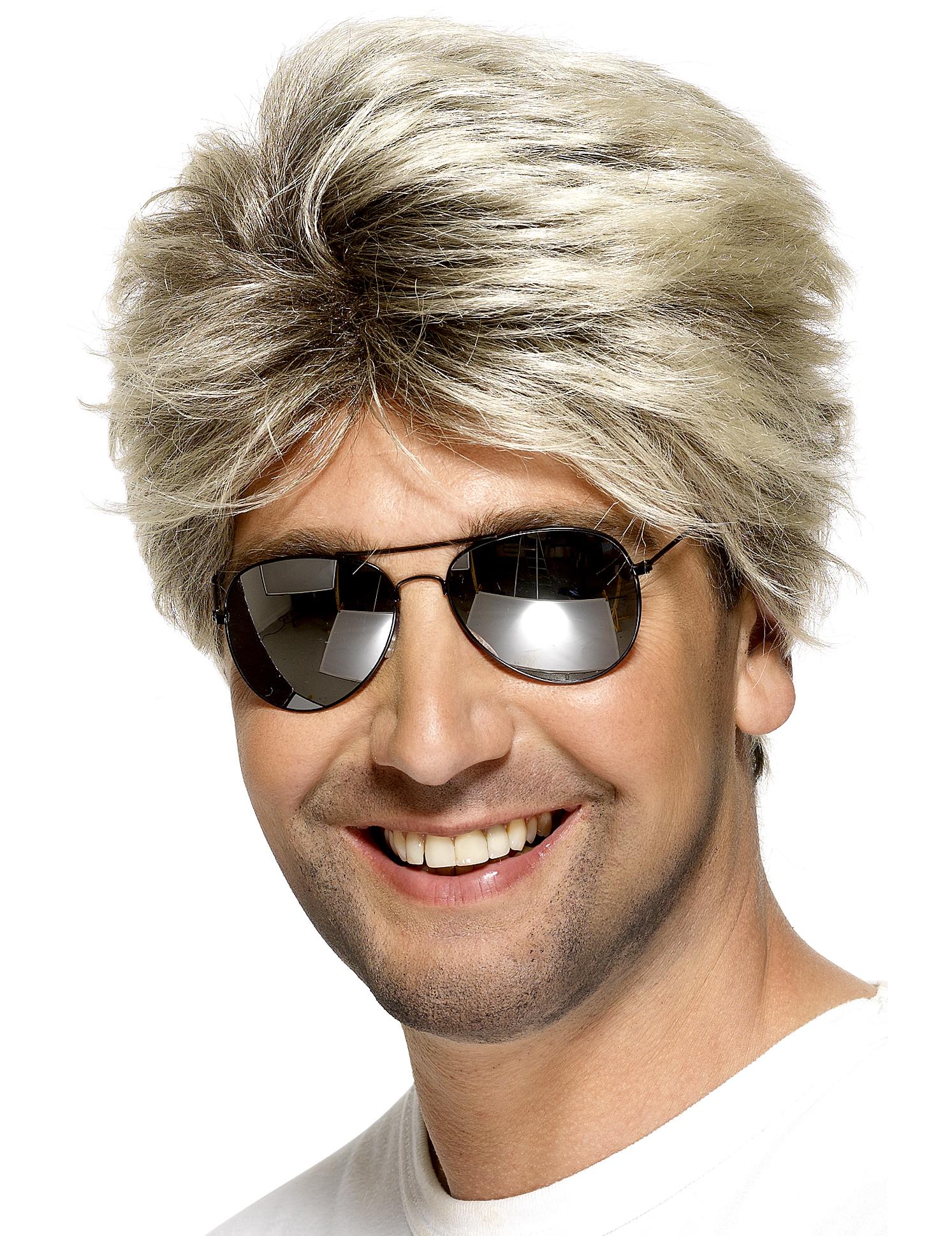 Perruque blonde courte homme, décoration