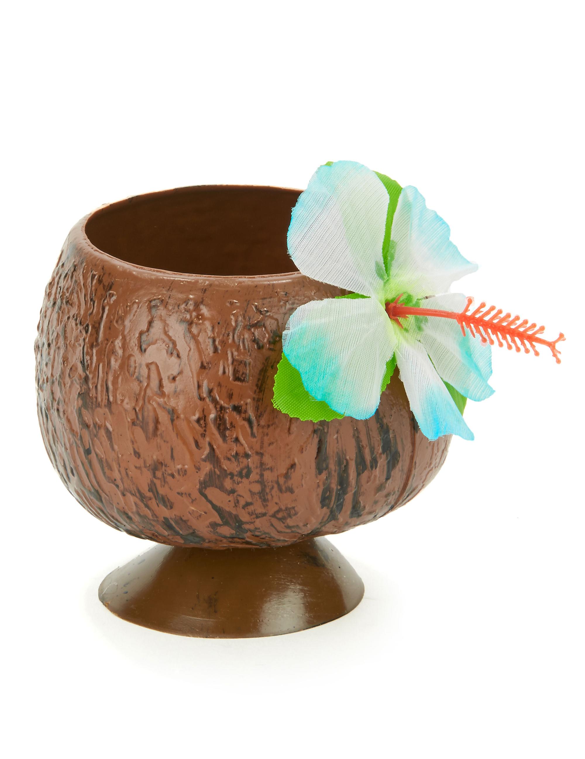Decoration Aquarium Noix De Coco : Coupe hawaï noix de coco fleur bleue décoration
