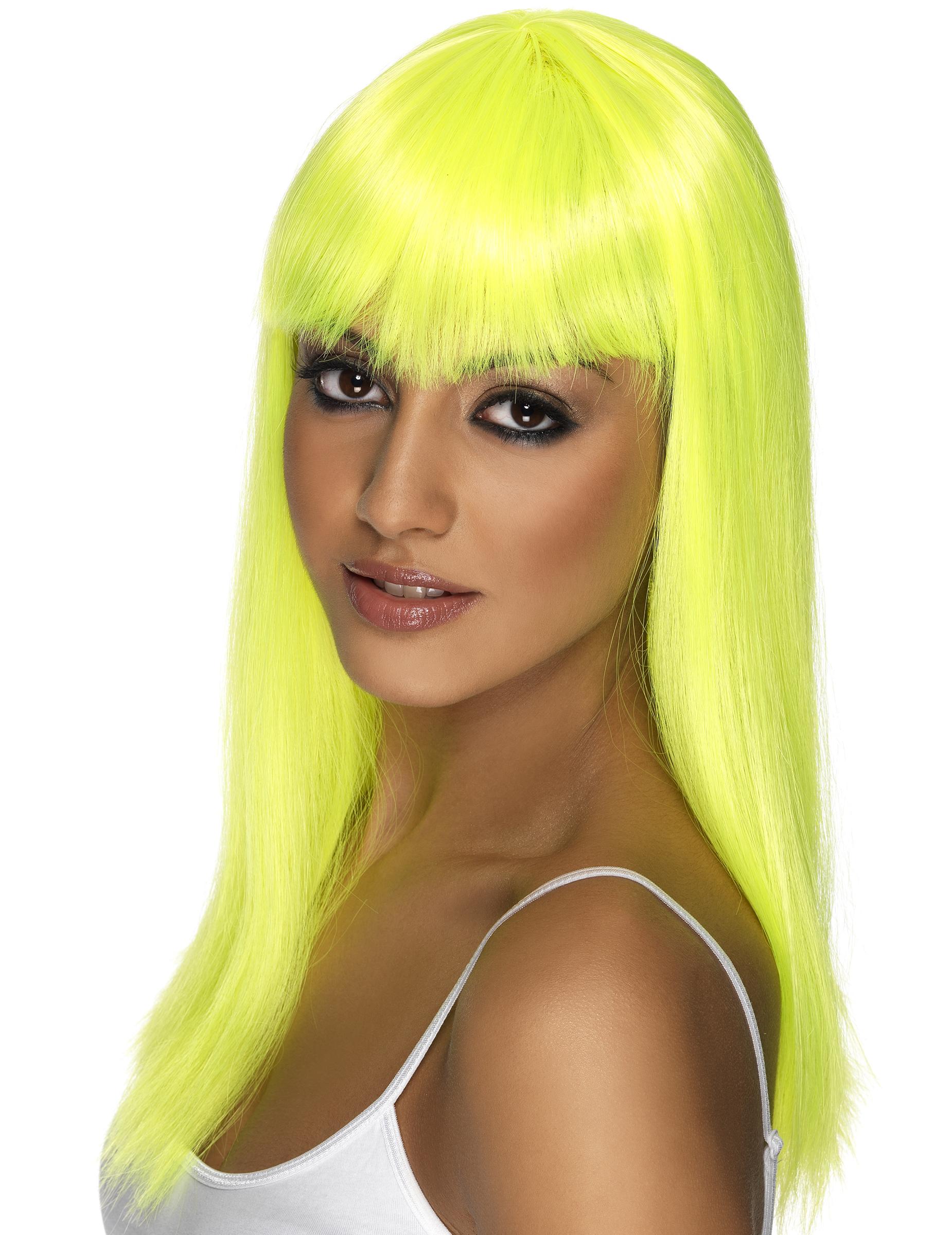 Perruque longue jaune fluo à frange femme,