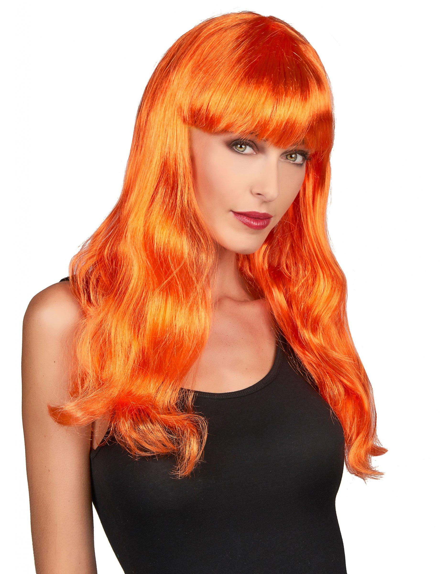 Perruque longue orange femme, décoration
