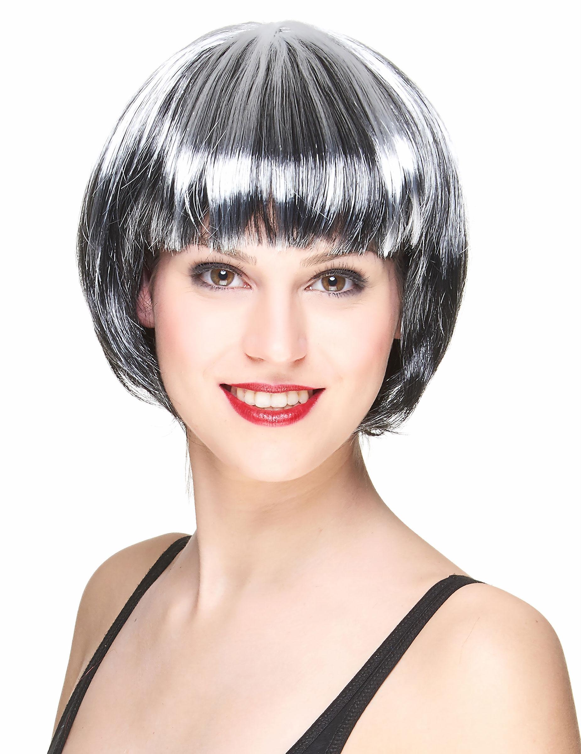 Perruque carré noir et blanc femme, décoration