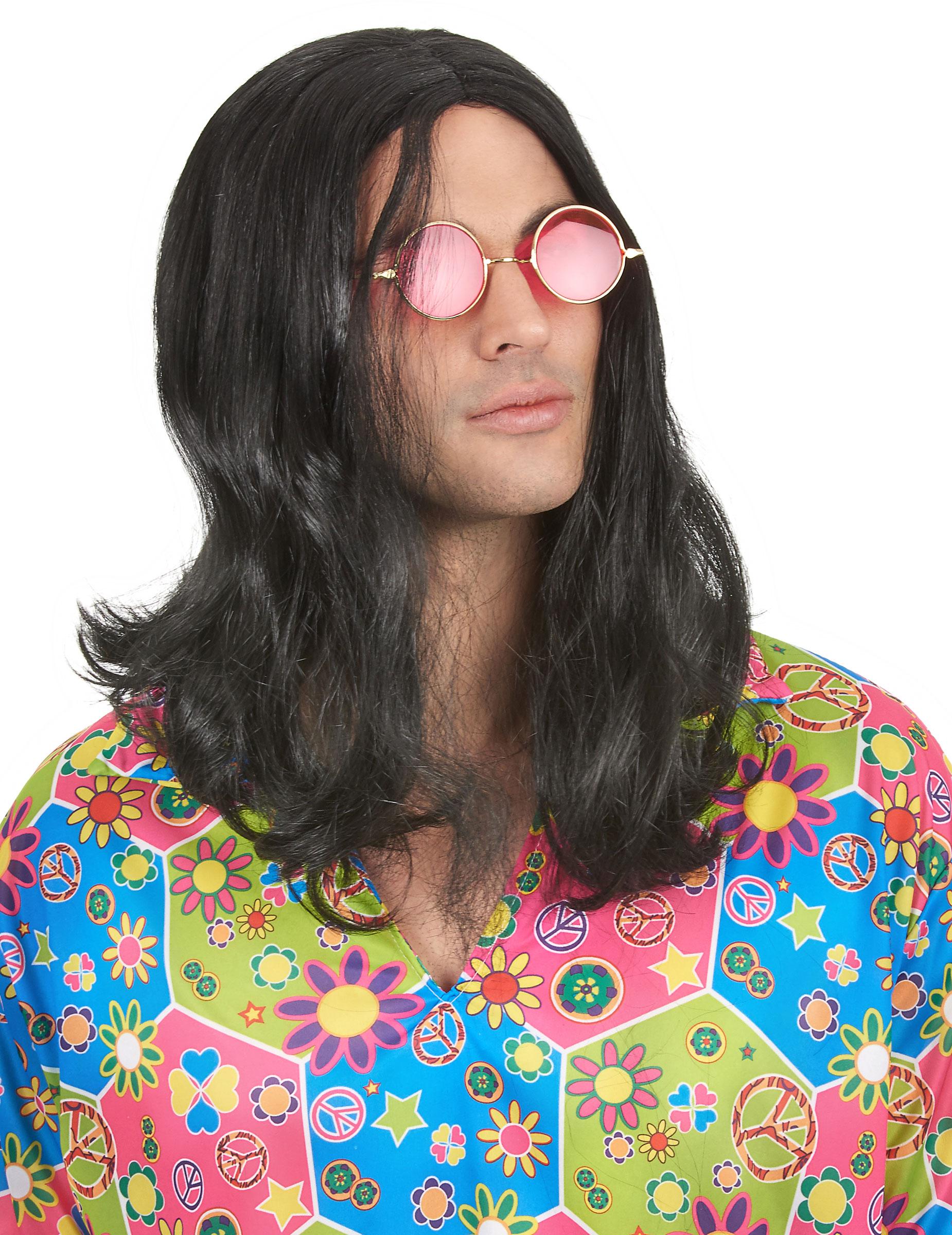 Perruque hippie homme, décoration anniversaire